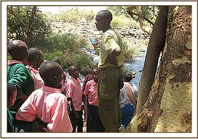 At Mzima Springs on the school trip