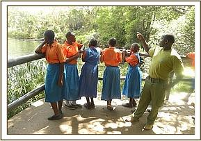 Kyusiani pupils at the Mzima springs
