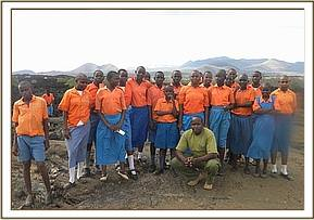 Kyusiani pupils at the Shetani lava