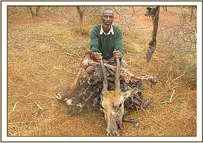 Arrested poacher with bush meat