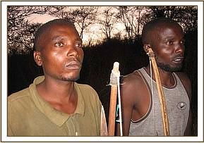 The two arrested poachers with their bow & arrows