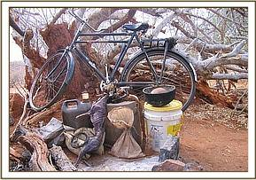 Bicycle & bushmeat confiscated from a poacher