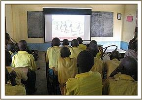 pupils follow the proceedings of the film