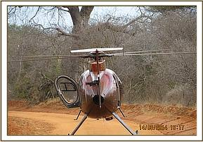 Dr.Phogon treating an elephant by DSWT Helicopter