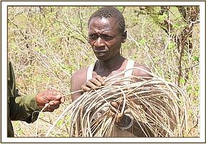 A poacher arrested with bird traps at Gazi area