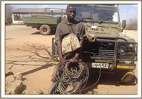 An arrested poacher with his snares