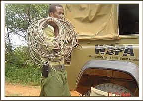The snares are put in the de-snaring team vehicle