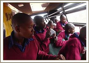 Muusini pupils enjoying the game drive