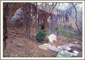 The poachers hideout with drying lines