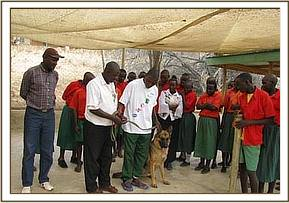 Kakithya pupils being lectured on the dog unit