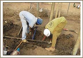 Repairing the pipes for the Kone borehole
