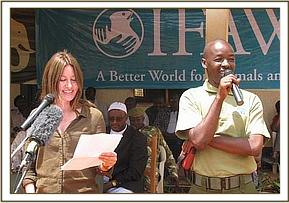 IFAW donor giving a talk