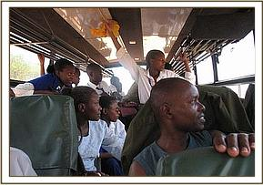 Alan Mjomba students during the game drive