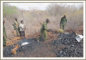 Destroying illegally manufactured charcoal