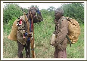 The arrested poachers with their wares