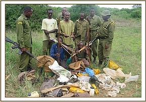 The arrested poachers with all their wares