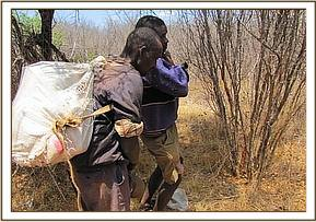 Poachers loading their luggage to the car