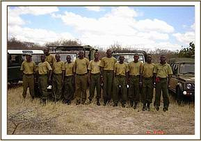 A parade by DSWT staff at the Ithumba mudbath