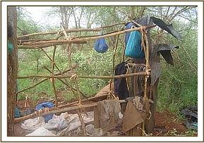 A poachers hideout and personal items
