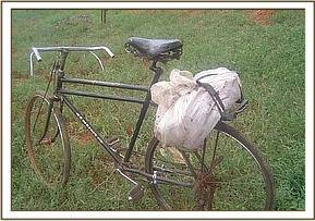 A recovered bicycle with bushmeat