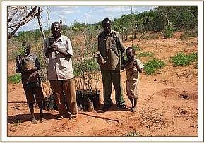 A family receives trees seedlings