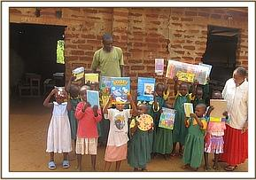 Some of the students with donations from DSWT