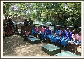 A group of students at Mzima Springs