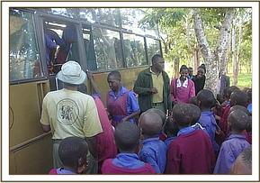 Pupils boarding the bus