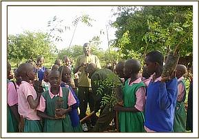 The students with their seedlings