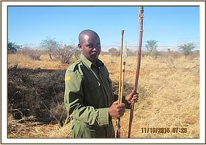A bow and arrows recovered from a poacher