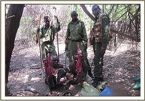 Poachers apprehended by the team in their hideout