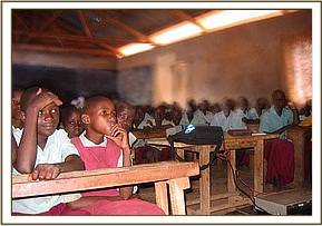 One of the Ithumba schools watching the film show