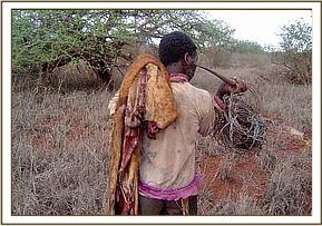 An arrested poacher with snares