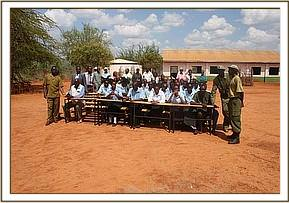 Donating desks at Mavindini Primary School