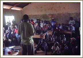 A team member giving a lecture to msorongo