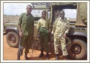 Team members with collected snares