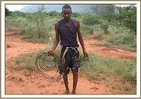 One of the arrested poachers with some snares