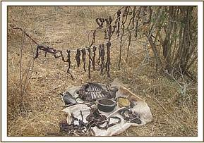 Bush meat confiscated from a poachers home