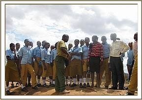 Students at Mudada rock Tsavo east