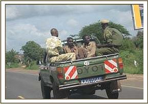 Taking arrested poachers to the police station