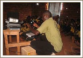 Wildlife films at Kikwasuni primary school