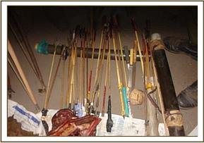 Bows and arrows confiscated from the poachers