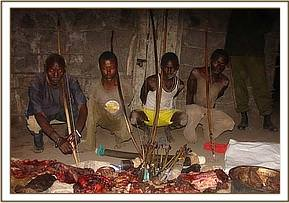 The four arrested poachers and their wares