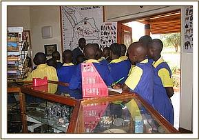 Students at information centre