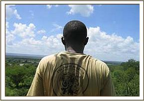 Desanaring team member looking out over Ithumba