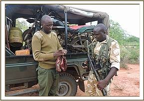 A recovered motorcycle transporting bushmeat