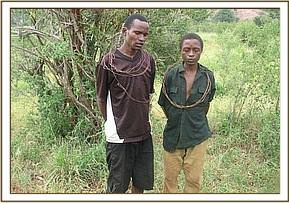 Arrested poachers at Lion Hill area