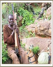 A poacher with weapons