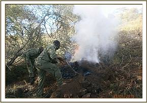 Team members destroying charcoal kilns at Kari