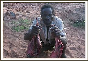 A poacher arrested with bush meat